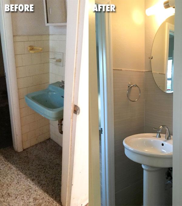 Half Bath Sink Before & After
